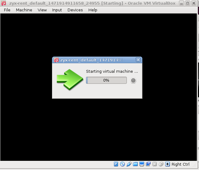 Starting virtual machine ... VirtualBox